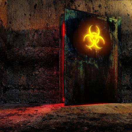 riesgo biologico: Sala de peligro en antiguo bunker. Abra la puerta con signo de peligro de Biograf�a