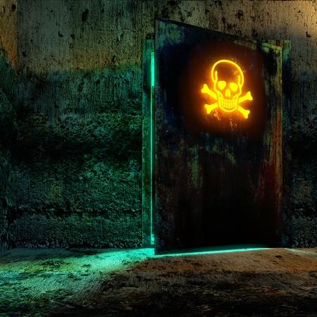 bio hazardous: Secret room in old bunker. Open the door with danger sign Stock Photo