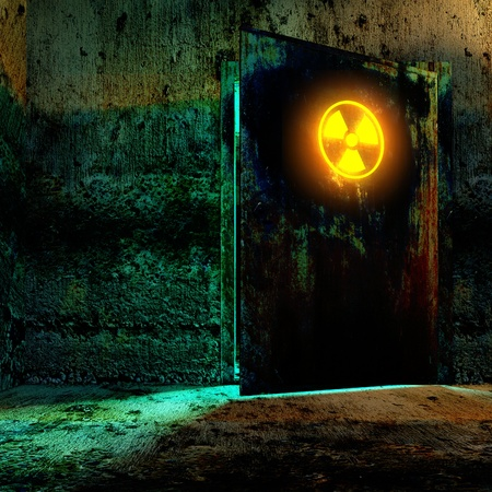 radioactivity: Danger room in old underground bunker. Open the door with radiation danger sign.