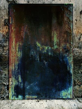 dark grunge metall door in the old bunker Stock Photo - 9366379
