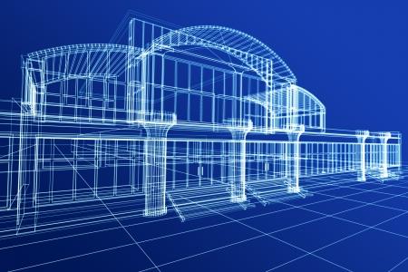 블루에 사무실 건물의 추상 3D 스케치 스톡 콘텐츠