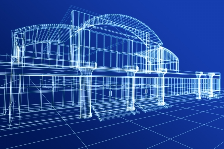 Abstract 3D sketch of office building on blue