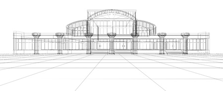 Schizzo di disegno 3D astratto di edificio per uffici
