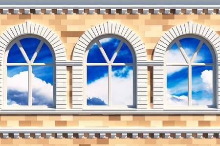 Illustration of classical decorated facade with three windows illustration