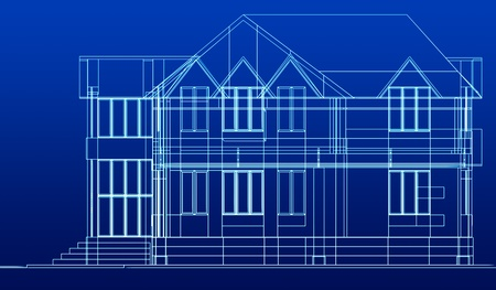 dwelling house: Sketch of house. Stock Photo
