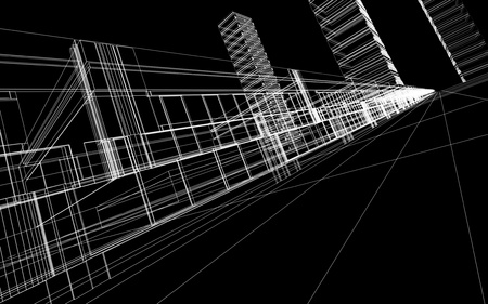 Abstract 3D wireframe of office buildings. Concept - modern city architecture and design. Stock Photo