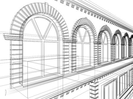 Sketch of house. Architectural 3d illustration Stock Illustration - 9366536