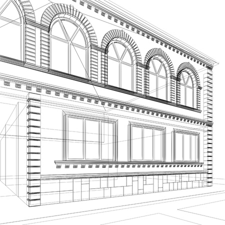 schematic: Sketch of house. Architectural 3d illustration Stock Photo