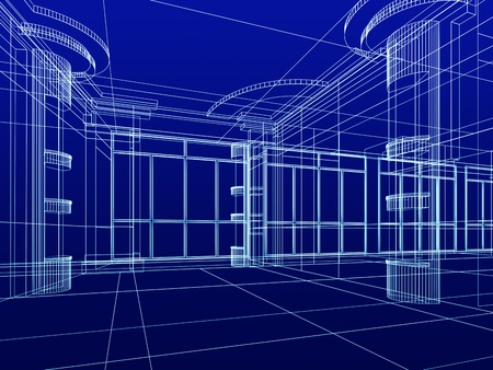 construction plan: abstract design sketch of modern office interior Stock Photo