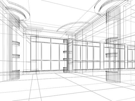 현대적인 사무실 인테리어의 추상 디자인 스케치