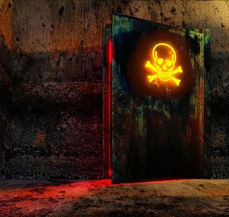 old technology: Porta aperta pericolo con cautela il segno nel vecchio edificio della tecnologia