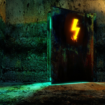 Open danger door with hi-voltage sign in old technology building Stock Photo - 9542782