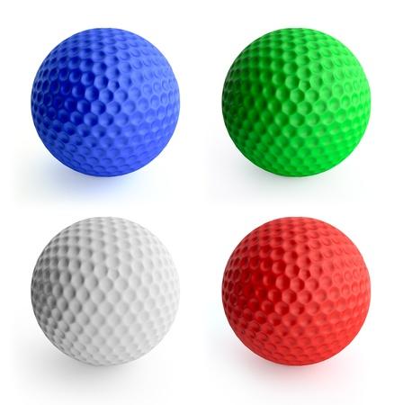 4 색 골프 공 빨강, 녹색, 파랑, 흰색. 화이트 절연