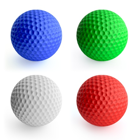 Four color golf ball red, green, blue, white. Isolated on white Standard-Bild