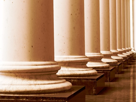 Ancient greek columns in aged sepia style. 3D illustration.