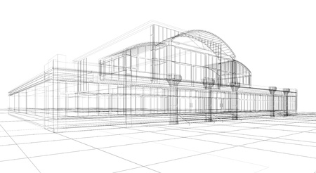 3D sketch of office building Stock Photo - 9542847