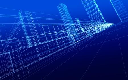 3D 렌더링 와이어 프레임 사무실 건물, 흰색 배경. 개념 - 현대 도시, 현대 아키텍처 및 디자인.