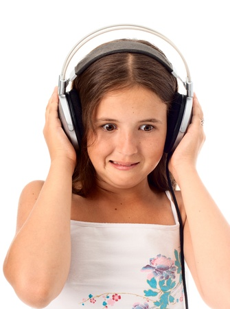 Teen girl listen unusual music photo