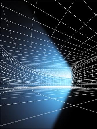 tunel: Azul rayo de luz en el final del t�nel Foto de archivo