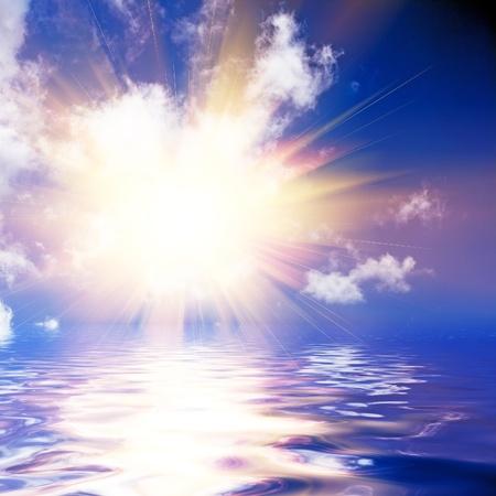 Religion concept. Vivid sun rays over sea surface Stock Photo - 9546113