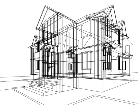 architecture project: Abstract sketch of house. Illustration of 3d construction Stock Photo
