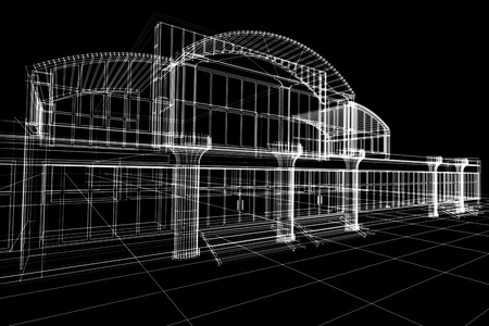 Abstract 3D sketch of office building on black photo