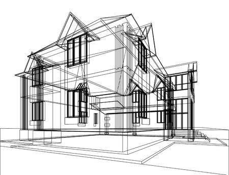집의 추상 스케치입니다. 건축 3d 일러스트 스톡 콘텐츠