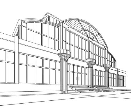 3D 건축 추상 사무실입니다. 개념 - 현대 아키텍처입니다.