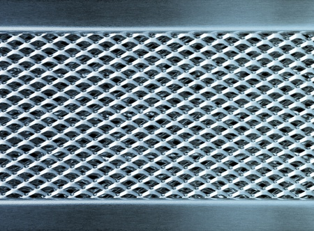 Blue metal texture industrial perforated plate photo