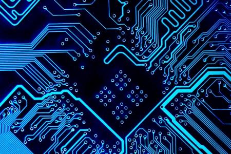 circuitos electricos: Resumen azul equipo placa de circuito cerca de fondo.