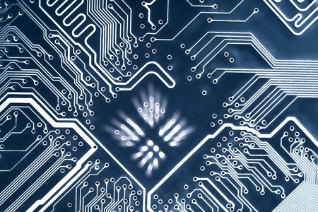 Abstract blue computer circuit board close up for background. Stock Photo - 9919531