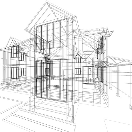 architect plans: Abstract sketch of house. 3d architecture illustration.