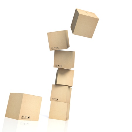 distribution box: dropping stack of cardboard boxes isolated on white