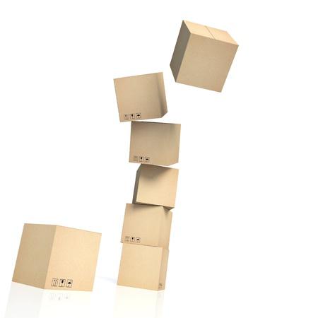 cardboard: pile tomber des bo�tes de carton isol� sur blanc