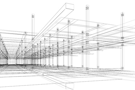 building sketch: Abstract modern office architecture design in 3D wire-frame Stock Photo