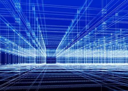 抽象的なブルー建築背景。建設事務所インテリアの 3 D スケッチ。