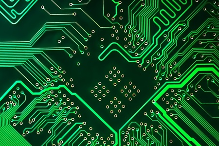 motherboard: Abstract green computer circuit board close up for background. Stock Photo