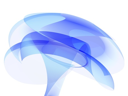 Abstract blue glass flower isolated on white photo