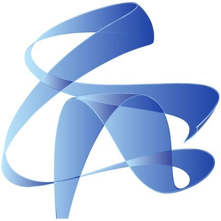 Blue cartoon blank wind ribbon photo