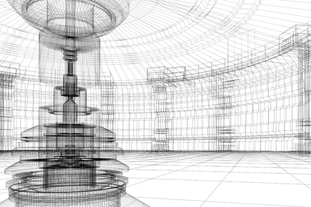 Abstract contemporary future lab with reactor in 3D wire-frame photo