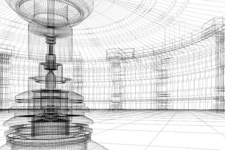 Résumé de laboratoire contemporaine avenir avec réacteur en 3D fil de fer Banque d'images