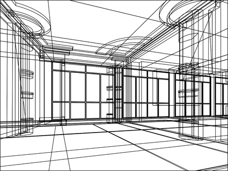 abstract design sketch of modern office interior Standard-Bild