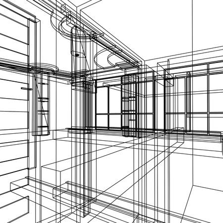 현대적인 건물 인테리어의 추상 디자인 스케치