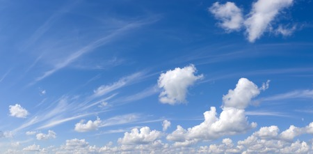 Plumose and cumulus clouds. The pure sky on a pure planet Stock Photo