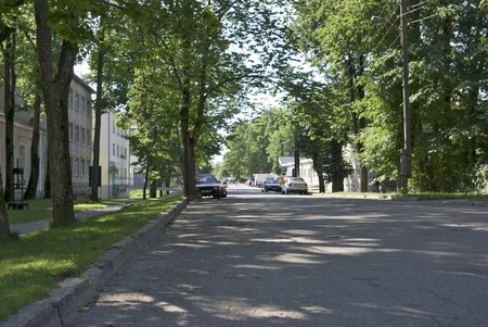 Midday. Quiet street of provincial small town.  Stock Photo
