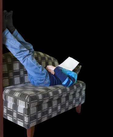 After difficult day. The worker in jeans has a rest after work with the newspaper on the person. Stock Photo - 1718549