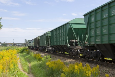 Cargo train from cars. The locomotive drags a cargo
