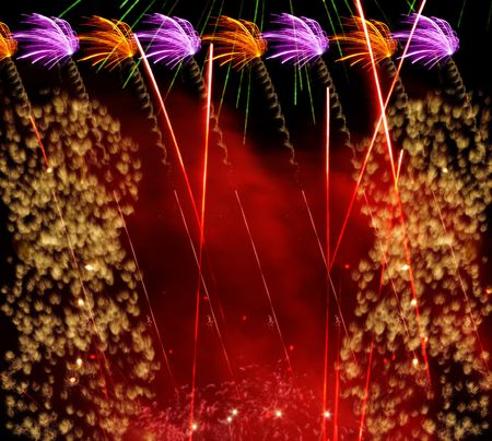 Composed from 6 fireworks. Red, Orange, Violet, Yellow fire. Red smoke. Stock Photo - 1815591