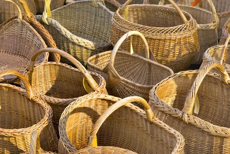 sell out: Traditional wooden baskets. Street sell out. Stock Photo