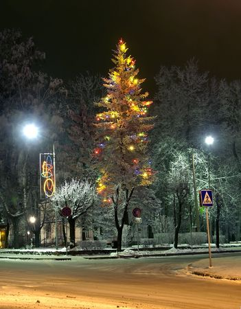 Night city. Shortly before Christmas. It is similar to a fairy tale. Stock Photo - 2052645